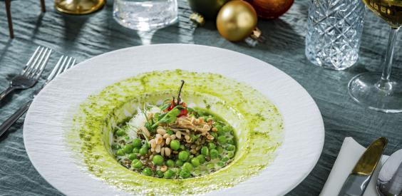 Vegan kerstmenu: Risotto met groene linzen en garden peas