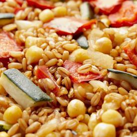 Poêlée épeautre, légumes grillés, pois chiches Minute®
