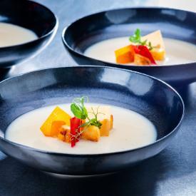 Vegan Christmas menu: Celery soup with sliced parsnip