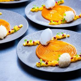 Vegan Christmas menu: Sweet pumpkin cream with coconut ice cream