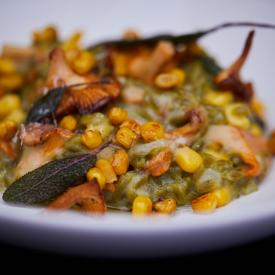 Pepisotto med majs og svampe