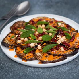 Grillet aubergine med tahini creme