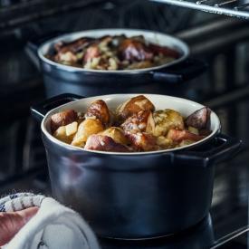 Cèpes gratinés, crozets et jambon de Savoie
