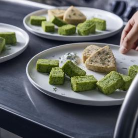 Recette Manger Mains : Bouchées de brocolis et son cabillaud aux champignons de paris