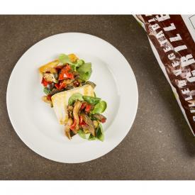 Millefoglie di verdure grigliate, tofu e valeriana