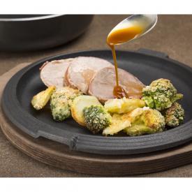 Beef pancettato con gratin di broccoli e patate