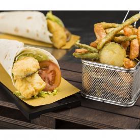 Wrap con merluzzo fritto e tempura di verdure