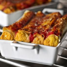Cannelloni zucca e carote con ricotta e menta