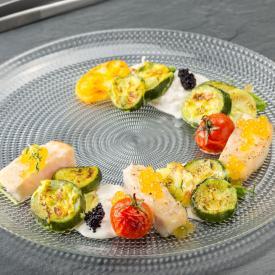Ombrina con gratin di zucchine e patate