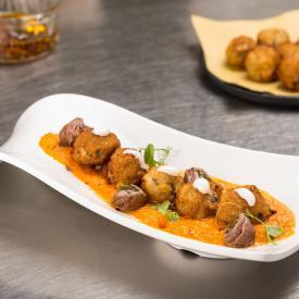 Crema di zucca e carote con polpette di pesce azzurro al finocchietto